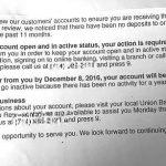 ユニオンバンクから海外口座を凍結するぞという手紙が届きました